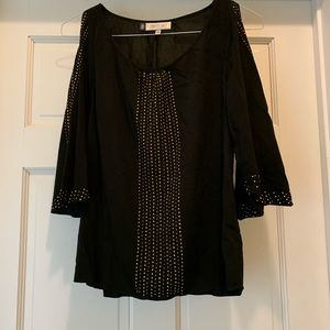 Women's Black and Gold Dressy Top